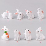 1 Pcs Lovely Resin White Rabbit Cute Micro Small Rabbit Ornament Landscape Easter Home & Garden Art Decoration DIY Miniatures Fairy Garden Supply