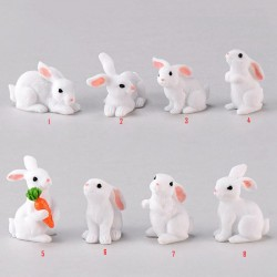 1 Pcs Lovely Resin White Rabbit Cute Micro Small Rabbit Ornament Landscape Easter Home & Garden Art Decoration DIY Miniatures Fairy Garden Supply