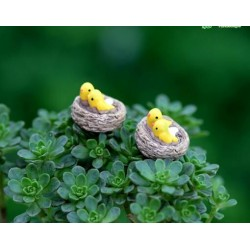 Mini Fairy Garden Bird Oriole Micro Landscape Miniature Garden Fairy Garden Decoration Fairy Garden Accessories Lovely Birds Small Cartoon Mini Fairy Garden Ornament Terrariums Bonsai Resin Nest
