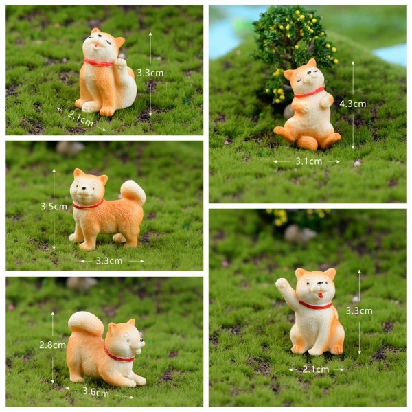 Wholesale Mini Fairy Garden Accessories Resin Animals Pet Dog Arts and Crafts DIY Landscaping Fairy Garden Ornament Pot Decorate 5 Styles Small Akita dog Terrarium Fairy Garden Supplies