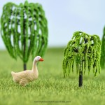 Simulation Willow Artificial Tree Micro Landscape Fairy Garden Tree Miniatures Resin Ornaments Decorative Crafts Building Landscaping Fairy Garden Accessories Supplies