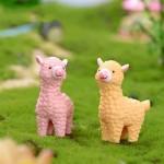 5 uds. Mini figuras en miniatura de Alpaca animales Jardín de hadas ornamentos DIY Micro paisaje decoración suministros resina artesanía 43*34mm