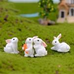 1 Pcs Lovely Resin White Rabbit Cute Micro Small Rabbit Ornament Landscape Easter Home & Garden Art Decoration DIY Miniatures Fairy Garden Supply Fairy Gardens Fairy Garden Supplies Miniature Garden Supplies