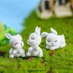 3pcs/Set Lovely Rabbit Garden Ornament Miniature Figurine Wholesale Price Fairy Garden Supply Micro Landscape Home Garden Decoration DIY Doll Kids Gift