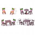 1 Set Table Chair Resin Craft Micro Landscape Material Ornament Fairy Garden Miniature Terrarium Bonsai Decoration Fairy Gardens Fairy Garden Supplies Fairy Supplies