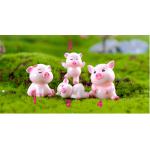 4pcs Pigs Mini Miniature Figurine Fairy Garden Dollhouse Decor Micro Landscape