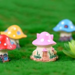 4 Style Rural Mushroom House Fairy Garden Miniatures Gnomes Moss Terrariums Resin Crafts Figurines Home Decoration