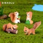 4pcs Squirrel Family miniature figurine Pine cone 3D Model landscape dollhouse home  fairy garden decoration accessories modern