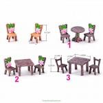 1 Set Table Chair Resin Craft Micro Landscape Material Ornament Fairy Garden Miniature Terrarium Bonsai Decoration