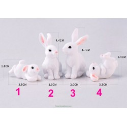 White Rabbit figurine Animal Model Resin Craft micro landscape home decor miniature  decoration accessories