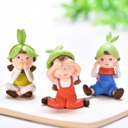 Cute Girls Gnome Figurine Miniature Fairy Garden Decor Micro Landscape Succulent Handmade Craft Gift Keychain Accessory