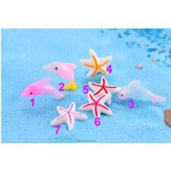 1 Piece Sea Zoo Dolphin Starfish Sea Fish Star Model Small Statue Figurine Little Crafts Ornament Miniatures Home Decor