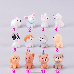 Mini size Puppy action Figures small dog Animal Model Miniature Figurine Fairy home  Doll Decoration Girl toy gift