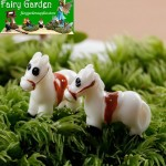 Indoor Mini Container Fairy Garden Kits Supplies Micro Landscape Miniature Garden Ecology Bottle Fairy Garden Ornament Lovely Mini White Horses Terrariums Wholesale Fairy Garden Accessories