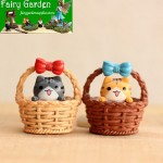 Basket  Chis Cats   Small Cat  Moss  Fairy Garden Micro Landscape Miniature Garden Fairy Garden Decoration Fairy Garden Accessories Fairy Garden Ornament Doll  FleshyMaterial Fairy Garden Accessories