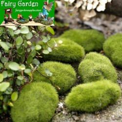 Emulational Moss Stone Flocking Stone Imitation Stone Bonsai Moss Lawn Fairy Garden Micro Landscape Aquarium Miniature Fairy Garden Decoration Fairy Garden Accessories