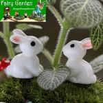 Lovely Miniature Fairy Garden Accessories Terrariums Mini Rabbit Resin Fairy Ornament Bonsai Flower Plant Pot Home Figurine Animal Decor Supply Desk Office Room Decor Cartoon Child Gift
