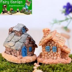 Mini House Villa Woodland Fairy Figurines Castle DIY Fairy Garden Miniatures Castles Terrarium Figurines Bonsai Fairy Garden Accessories Elves Castle Stone House Ecology Bottle Bonsai