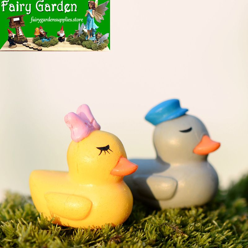 Mother and Ducklings Fairy Garden Accessories Miniature Figurine Duck Pond