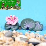 Moss Fairy Garden Lotus Micro Landscape Miniature Garden Decorate Terrariums Fairy Garden Decoration Pot Bonsai Fairy Garden Accessories Lotus Leaf Small Flower DIY Material Wholesale Resin Plants