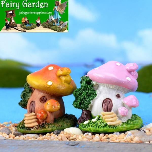 Fairy Garden Micro Landscape Miniature Garden Fairy Garden Decoration Fairy Garden Accessories  FleshyResin Decorate  Steps Mushroom TREEHOUSE  Cartoon Lovely  Model  DIYMaterial