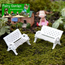 White Benches  Park  Chairs   Moss FleshyFairy Garden Micro Landscape Miniature Garden Ecology Bottle Fairy Garden Accessories Decorate Material Small Fairy Garden Decoration Fairy Garden Accessories