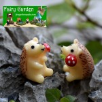 Miniatures Hedgehog With Fruits Mushroom Terrarium Fairy Garden Accessories Decor Figurines Mini Garden Decoration Hedgehog Fairy Garden Chair Craft Decoration Terrarium Bonsai Figurine Toy For Kids