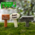 Fairy Garden Signpost Miniature Garden Guideboard Fairy Garden Ornament Doll DIY Assemble Toys Plant Pot Terrariums Bonsai Decor Road Signs Fairy Garden Accessories