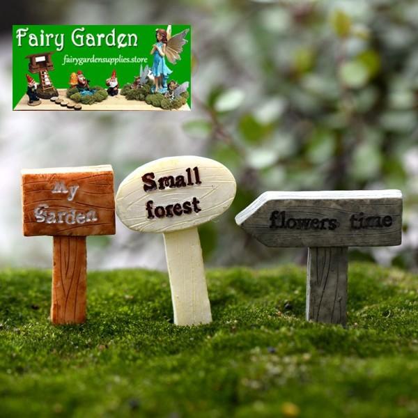 Fairy Garden Signpost Miniature Garden Guideboard Fairy Garden Ornament Doll DIY Assemble Toys Plant Pot Terrariums Bonsai Decor Road Signs Fairy Garden Accessories Miniature Garden Fairy Garden Supplies Miniature Garden Accessories