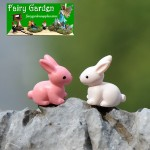 zakkaGroceries  Moss Fairy Garden Micro Landscape Miniature Garden Fairy Garden Ornament  FleshyFlower  Toy Figurine Fairy Garden Decoration Fairy Garden Accessories  Pink White Small Bunnies  DIYMaterial