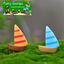 Micro Fairy Garden Terrariums Decorate Bonsai Landscape Miniature Garden Decorate Mediterranean Sea Style Aegean Sea zakka Small Sailing Boat Manual Aquarium DIY Fairy Garden Accessories