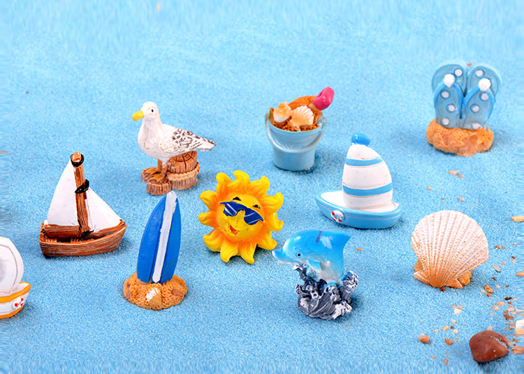 Summer-Sun-Dolphin-Beach-Boat-Pigeon-figurine-Starfish-Resin-Craft-home-decor-miniature-fairy-garden-decoration-accessories-toys-32961490827